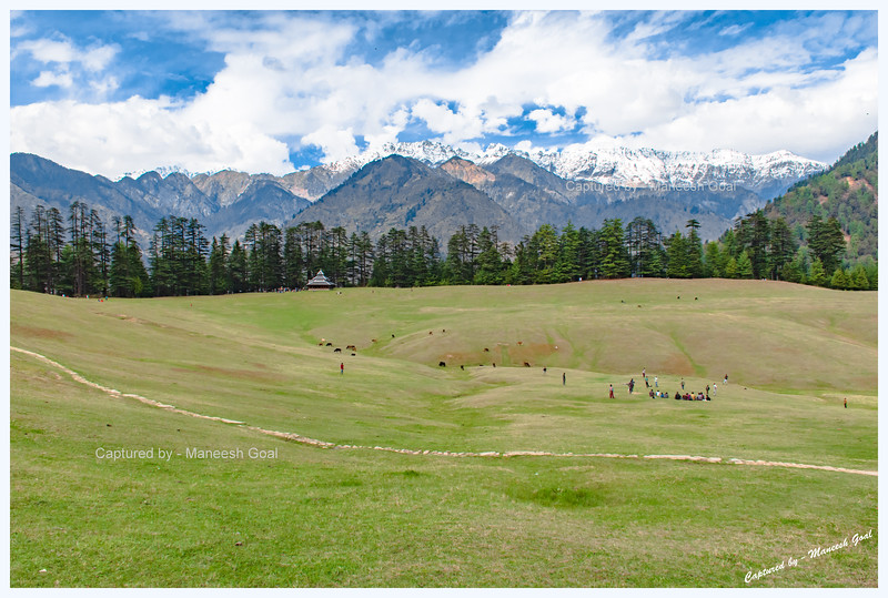 Wide angle view of Shangarh meadow, Sainj Valley.