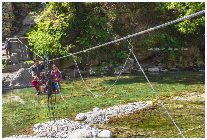 Pulley & trolley system employed to cross Tirthan River. We had to use it everyday to reach Bluehouse by the River - our abode in Tirthan Valley