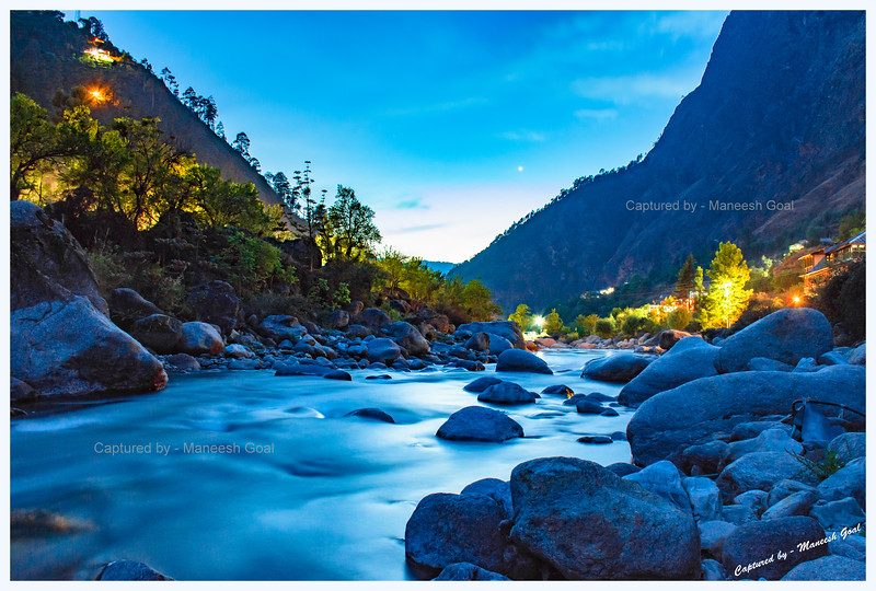 Tirthan River @ blue hour (long exposure shot)