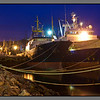 Russian trawlers at dusk <br /> Kirkenes, Norway