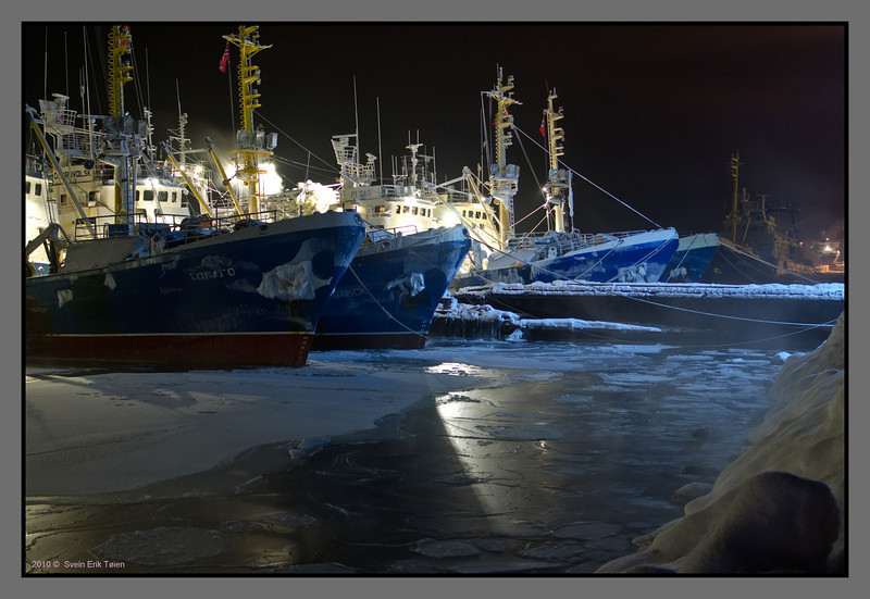 Frozen sea, frozen ships<br /> Russian fishing vessels in Kirkenes harbour, -25 C