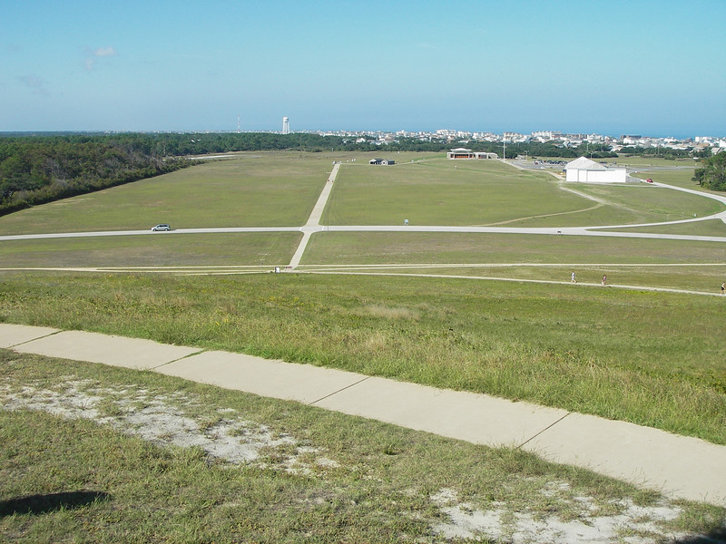 Looking down from atop the hill where the first flight was attempted.