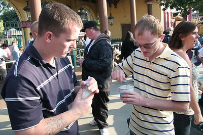 Jereme and Matt getting a bottle ready