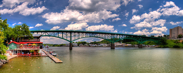 150/365 - June 3, 2012 - Gay Street Bridge   If you can't tell, I have gotten myself into a panoramic state of mind this weekend.  Today after having lunch at Calhoun's on the River, I captured these shots of the Gay Street Bridge crossing over the Tennessee River.  Calhoun's is on the left (north) bank of the river in the photo.  I wasn't exactly happy with some of the processing on this one, but considering the time it took, I just didn't have the desire to redo it.  It's a compilation of 6 3-shot HDRs.  I ran an HDR batch in Photomatix to create 6 TIFs and then merged the TIFs in Photoshop CS5.