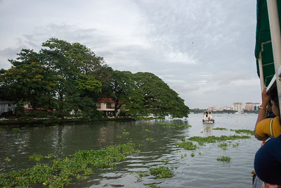 Ferry view on Vembanad Lake, Kochi, Kerala, India.