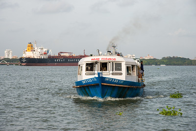 Ferry arriving at Embarkation Jetty, at Kochi, Kerala, India. The jetty connects to Fort Kochi as well as Marine drive. Small non descript place which is peaceful. Boat ride costs just Rs 4 yes just four and frequency is about 15 min.