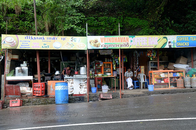Food stalls enroute from Thekkady to Kochi in Kerala. Thekkady (Idukki district) in Kerala is the location of the Periyar National Park, which is an important tourist attraction in India. Thekkady sanctuary is located near the Kerala-Tamil Nadu state border and is famous for its dense evergreen, semi-evergreen, moist deciduous forests and savanna grass lands. It is home to herds of elephants, sambar, tigers, gaur, lion-tailed Macaques and Nilgiri Langurs.