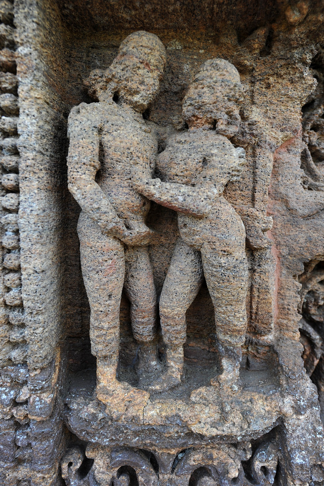 Various erotic art forms depicted in stone carvings in the Sun Temple, Konark.<br /> <br /> Konark Sun Temple in Orissa belongs to the Kalinga school of Indian temples and was constructed by King Narasimhadeva of the Eastern Ganga Dynasty in the 13th Century. This world heritage site temple takes the form of a colossal chariot of Surya (Sun) drawn by seven spirited horses on twelve pairs of exquitely decorated wheels. Surya has been a popular deity in India since the Vedic perios. Thousands of sculptured images depict deities, celestial and human musicians, dancers, lovers, and myriad scenes of courtly life, ranging from hunts and military battles to the pleasures of courtly relaxation. The temple is famous for its erotic stone sculptures, which can be found primarily on the second level of the porch structure.