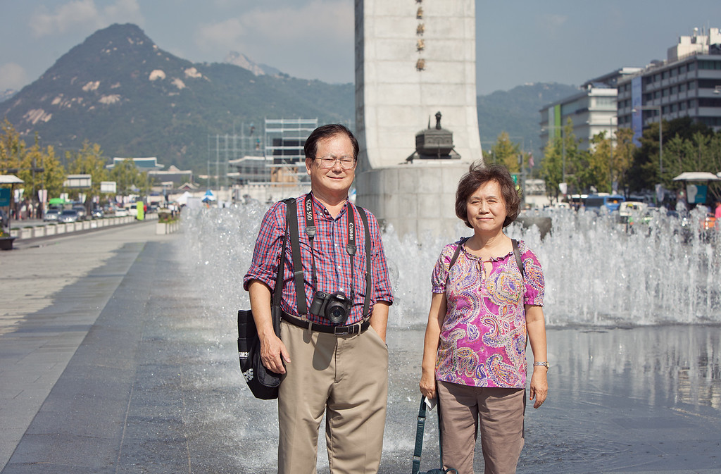 Mom and dad in front of the fountain. Yesterday was the national celebration of Korean heritage, including their near-perfect alphabet. It was kind of a big deal.