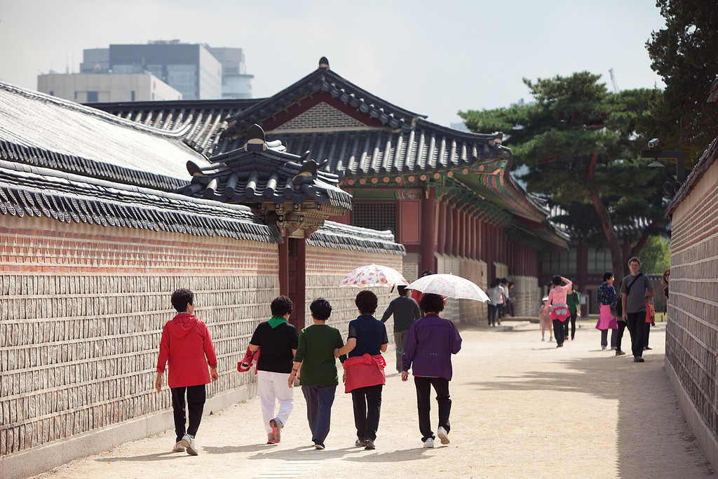 Tourists from all over the world explored the palace grounds at Gyeongbokgung.