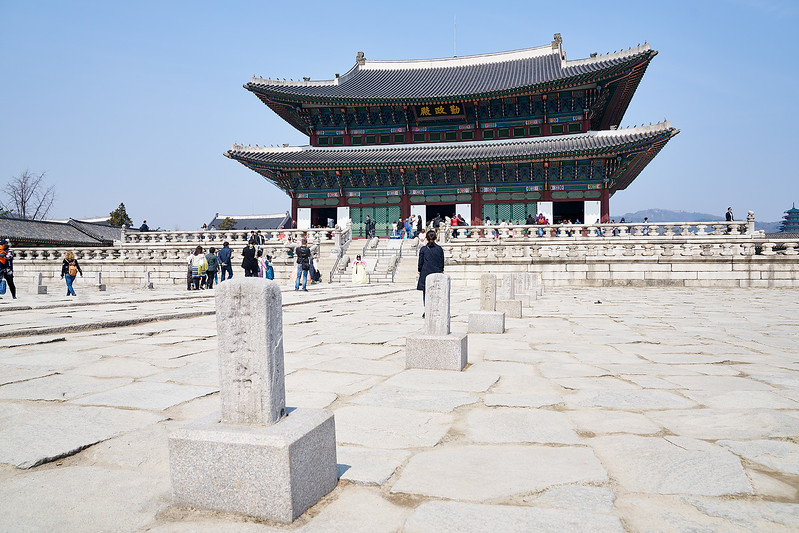 Geunjeongjun (근정전), the throne hall of  Gyeongbok Palace (경복궁) with markers for the places the different grades of royal ministers would stand for the audience with the king.