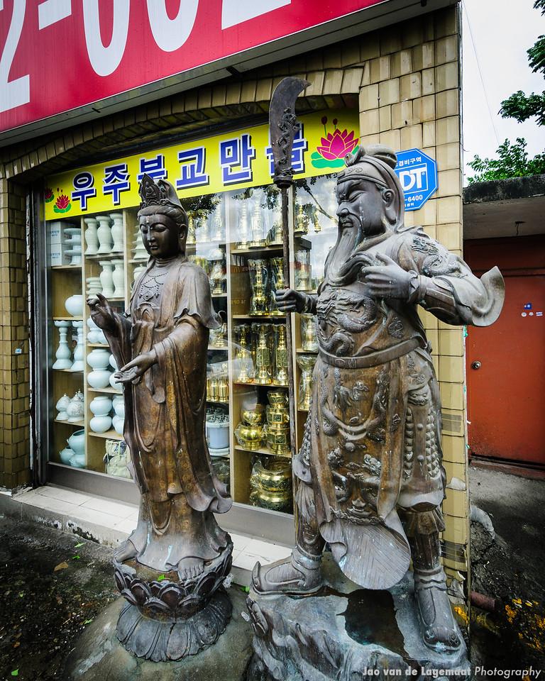 Drugstore Warrior . Read more: http://lagemaat.blogspot.com/2012/08/suwon-korea-during-typhoon.html