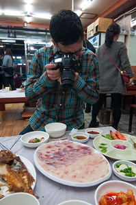 Photographing hoe (raw fish)