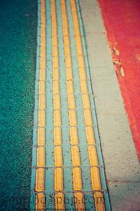 Yellow tactile warning pavers