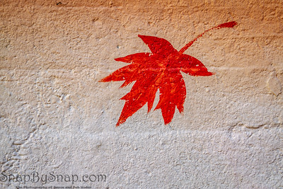 Maple leaf painted on concrete