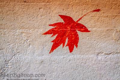 Maple leaf painted on concrete