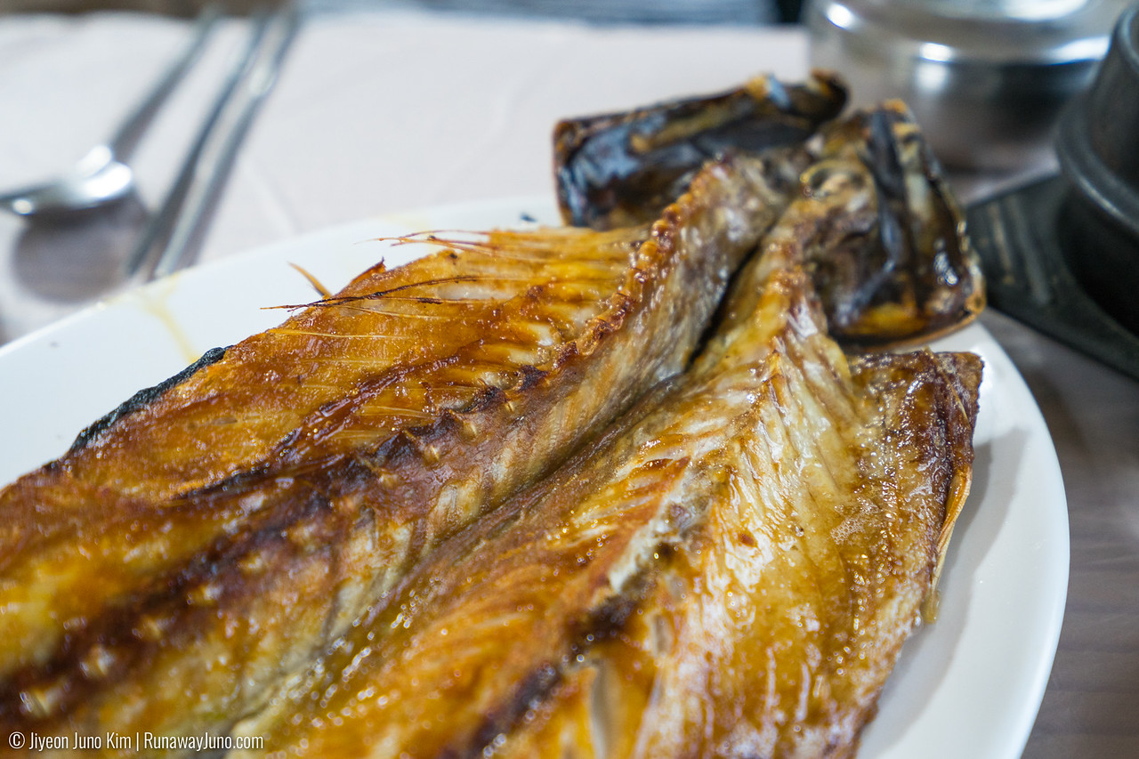 Salted and pan-fried mackerel