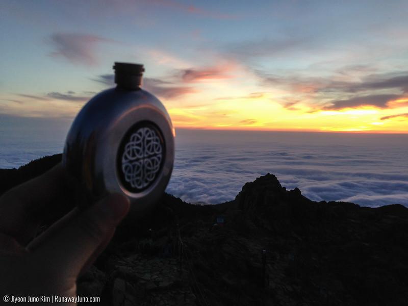 Cheers to the sunrise at Cheonwangbong Peak