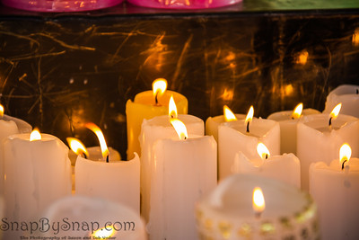 White Prayer Candles Burning