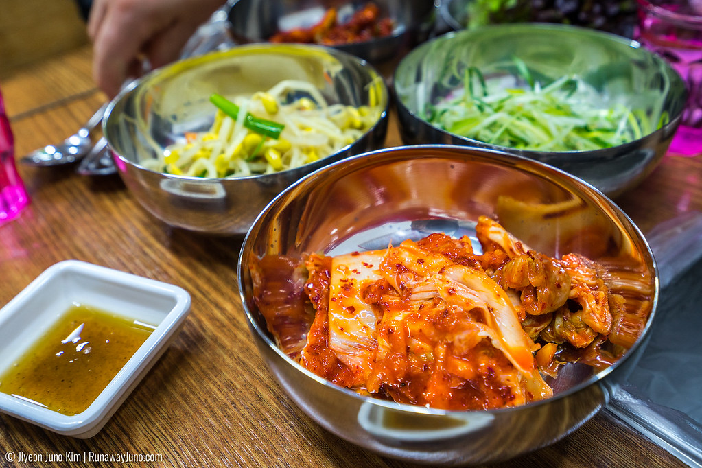 A typical Korean dining table