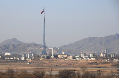 The tallest flagpole in the world: Located in Kijong-dong, North Korea. (As seen from South Korea)