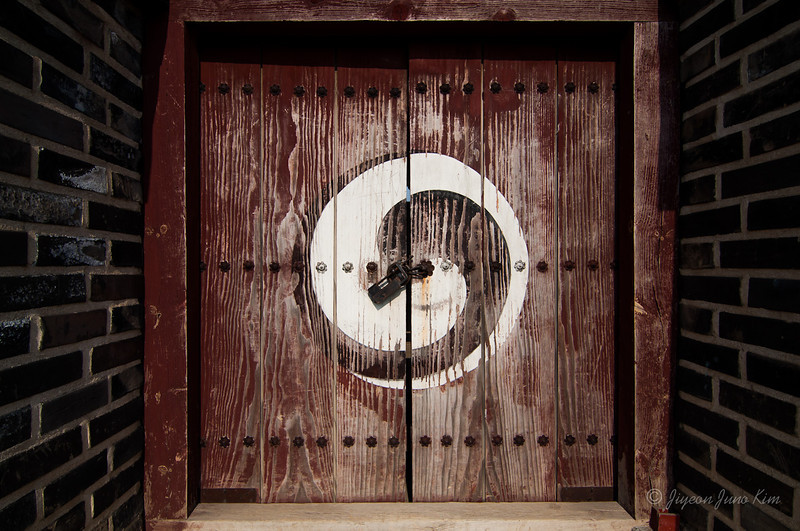Wooden door at Hwaseong