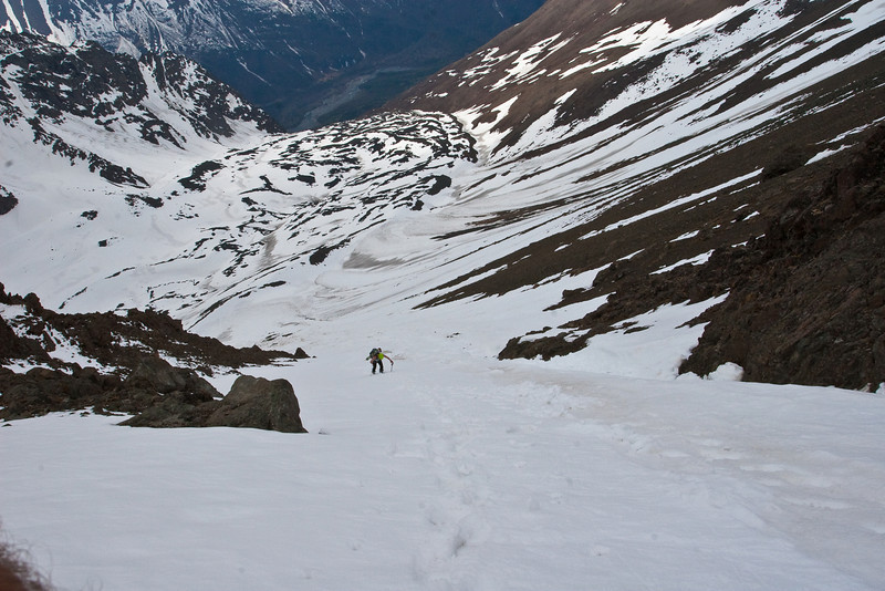 Heading up the couloir, Eagle River way down in the background.