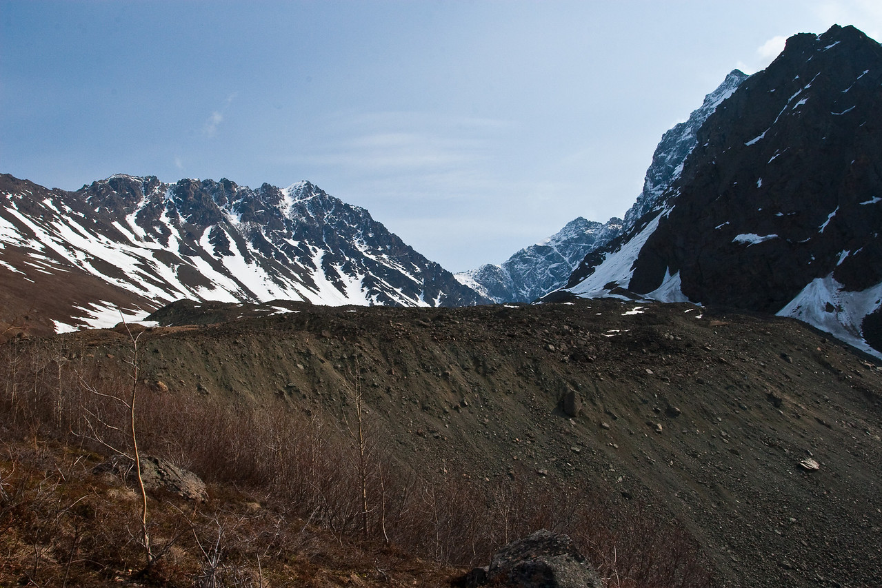 Korohusk Peak, our objective, is on the left - the snowy portion of the ridge.