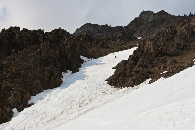 Skiing down the lower S-couloir.