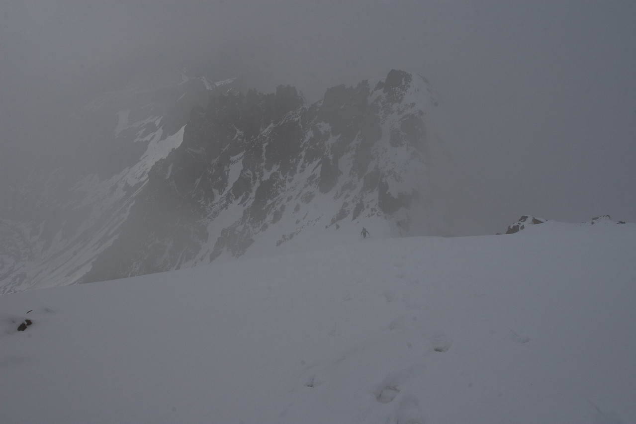 The clouds were covering the final slopes and the summit.