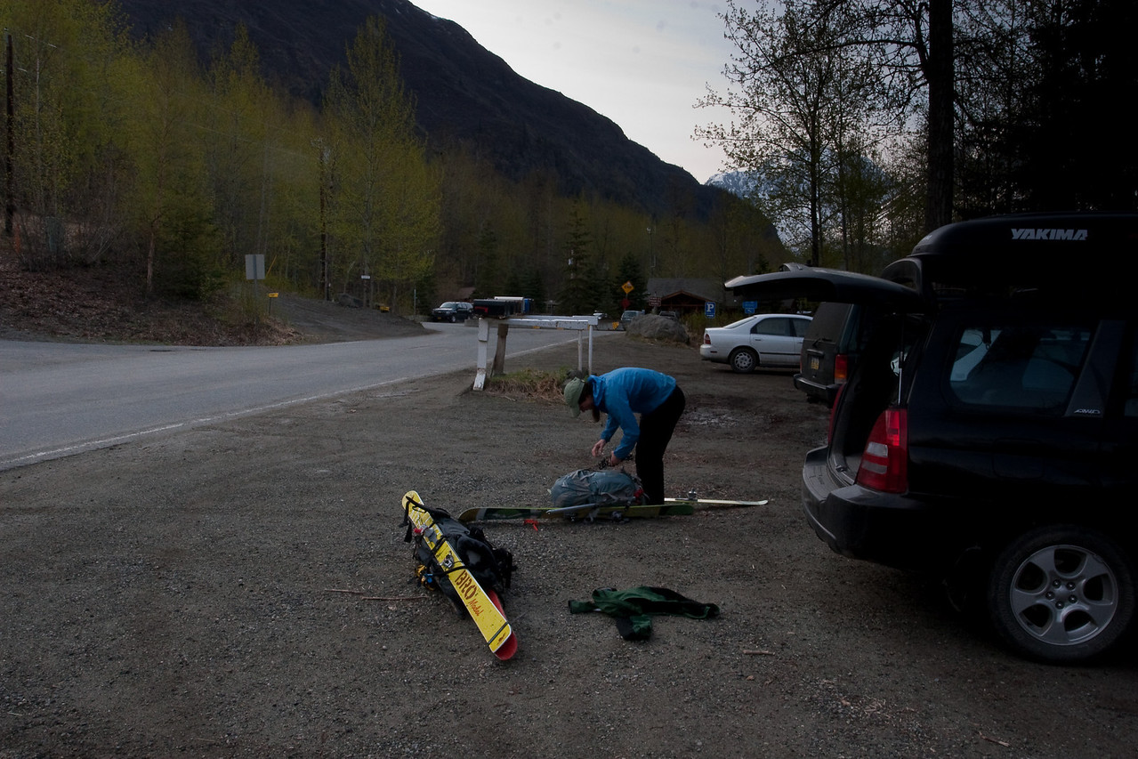 Gearing up at the Eagle River nature center parking lot.