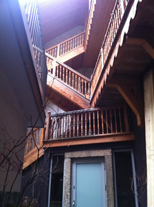 I wasn't able to get a really good angle to capture this, but it was a really interesting network of wooden stairways and balconies inside an alley.