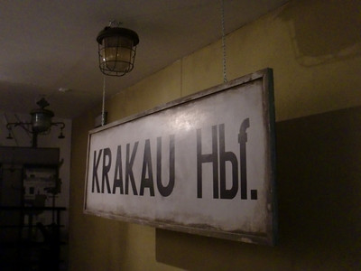 Under German occupation, Krakow had a 'hauptbahnhof'  The station is still there, but has returned to its Polish designation.  This sign was in the museum in Schindler's Factory.