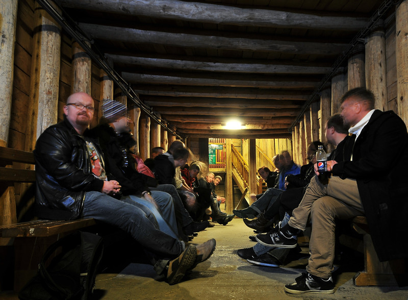 Salt mines in Kracow, Poland - Salt mine i Krakow, Polen<br /> Waiting for the lift