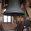 Huge bell in tower of national cathedral in Wawel Castle in Krakow, Poland, above the Vistula River