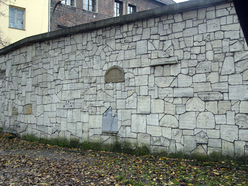 Cemetary wall made from grave markers