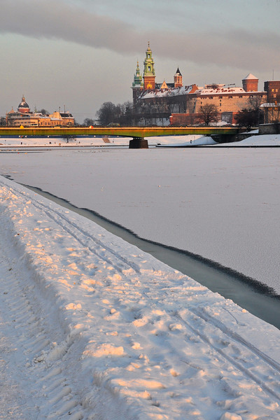 Krakow, Poland - Wawel Castle & national cathedral - view from the Vistula River -
