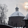 Krakow, Poland - snow - Slavic wooden church -
