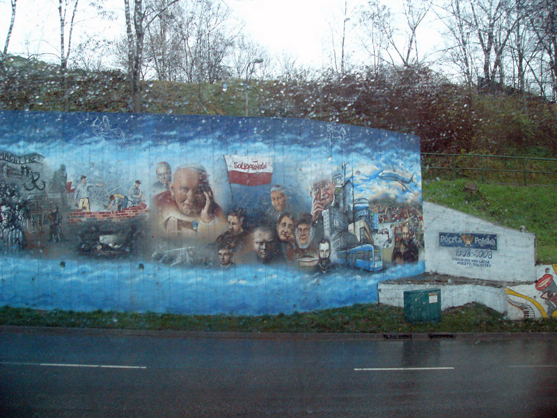 Historical mural along the road