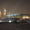 Wawel Castle in Krakow, Poland, on the Vistula River at night -