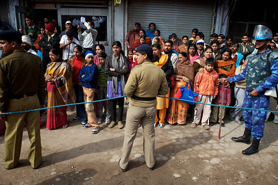 Security during the procession of the Niranjani akhara. Kumbh Mela 2010, Haridwar.