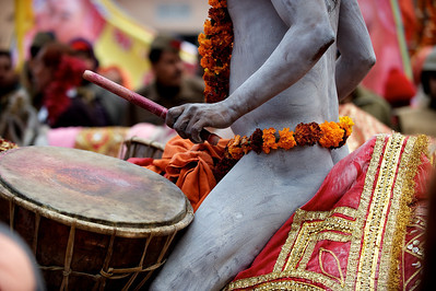 Naga Baba on horse back during procession. Kumbh Mela 2010, Haridwar.