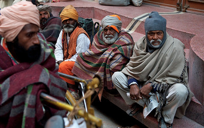 Beggars waiting for food, Kumbh Mela 2010, Haridwar.