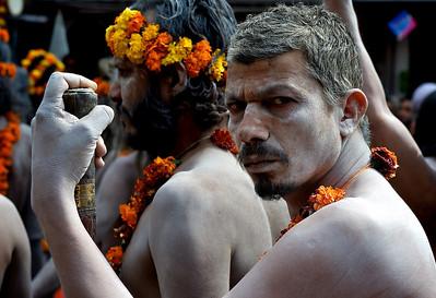Naga Babas in the procession of the Niranjani akhara. Kumbh Mela 2010, Haridwar.