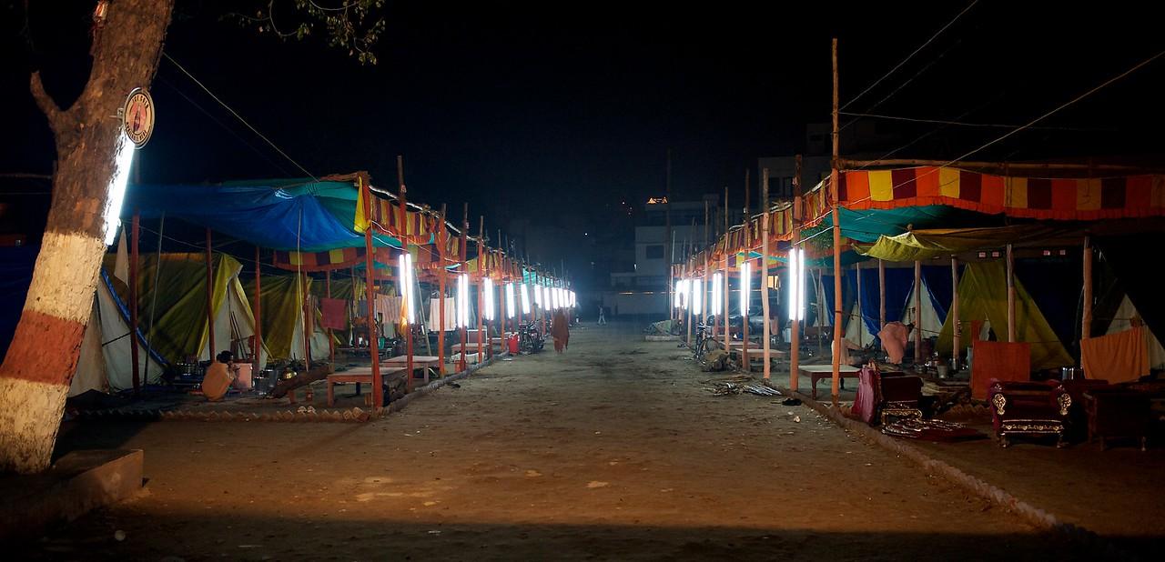 Niranjani Akhara, Sadhus and Naga Babas are still sleeping. Kumbh Mela 2010, Haridwar.