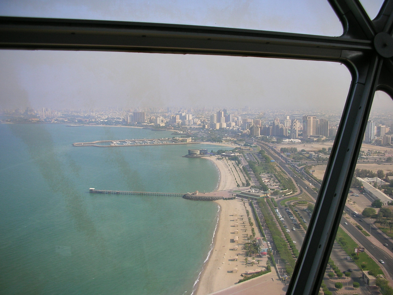 From the observation level of the Kuwait City Towers.