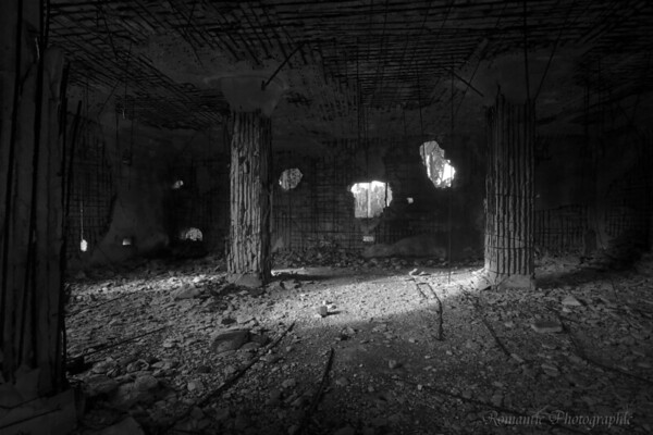 The interior of a bombed out Japanese blockhouse on Namur.