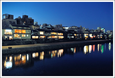Kamo River at night