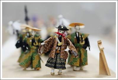 These dolls, made of washi, depict a daimyo gyoretsu carrying tea.  We saw these on the second floor of the tea shop.
