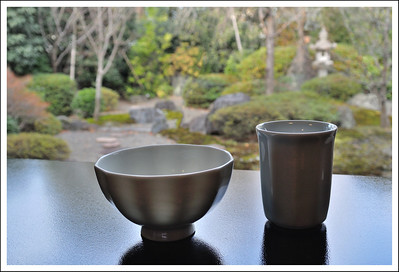 My empty rice bowl and tea cup
